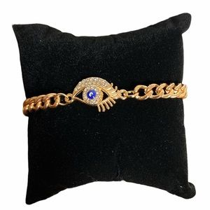 Evil Eye Crystal Colored Gold Fashion Bracel…